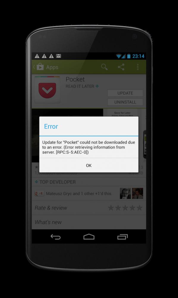 Nexus 4 error -5